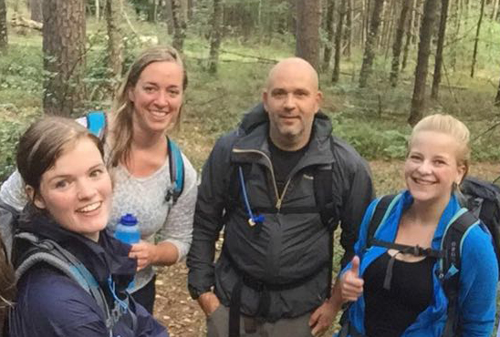 Sanne met Jamie, Hanneke en Lisette tijdens een trainingsdag